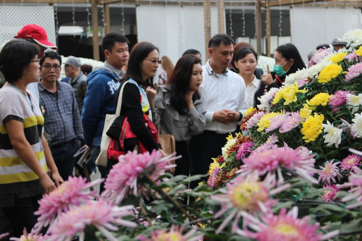 圖3. 韓國代表Hae ri Park專心聽著大立菊栽培的解說