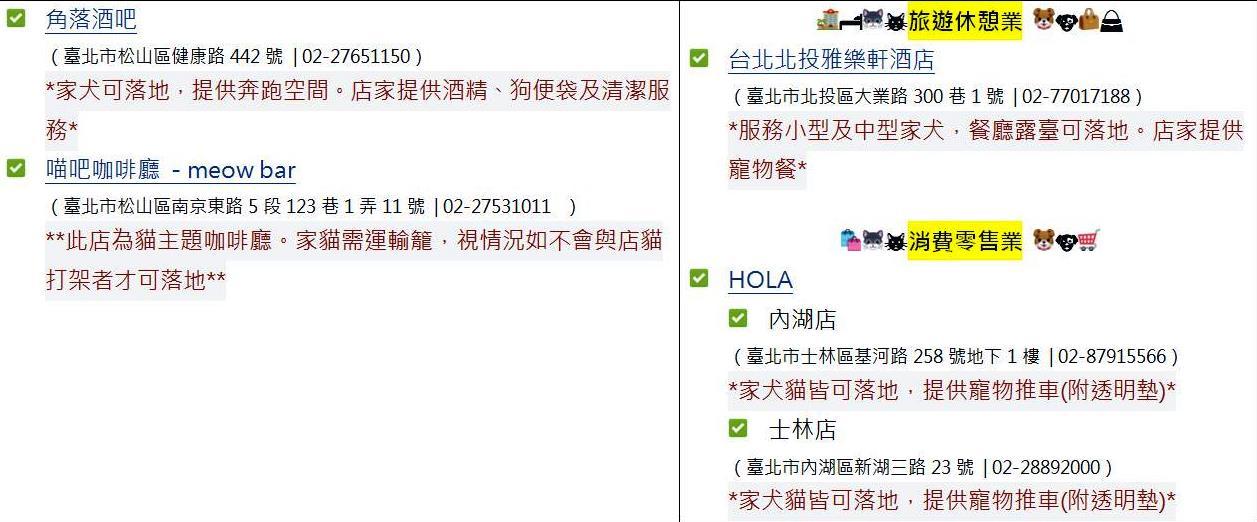 106年臺北市動物友善空間業者分區名單(非寵物相關行業)-3