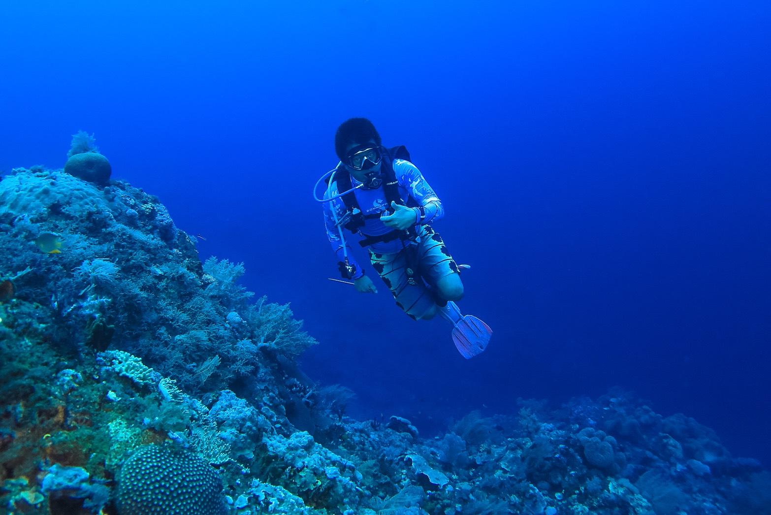 圖3. 澎湖海域海底潛水照一,海底探勘珊瑚的狀態。