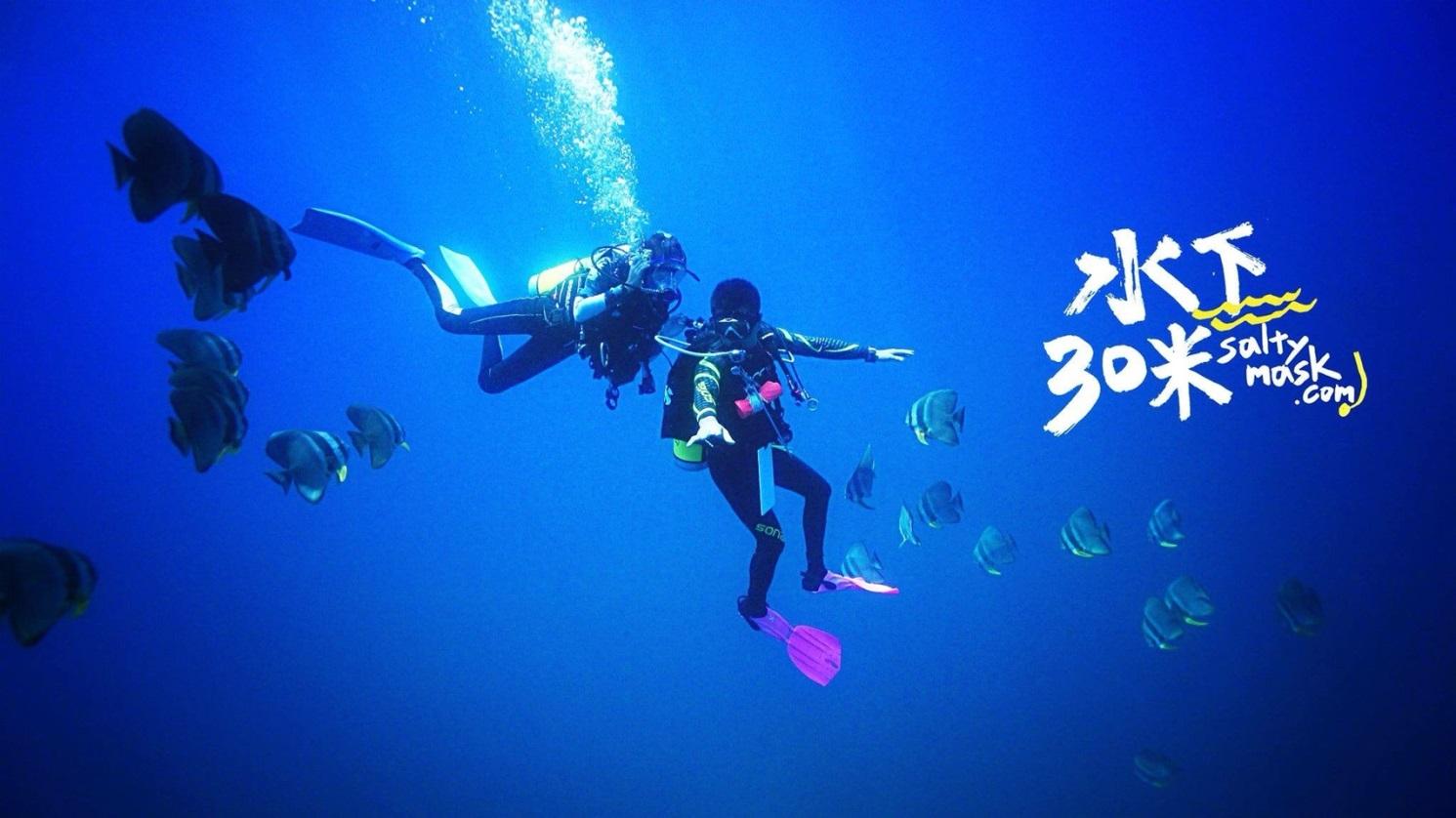 圖4. 澎湖海域海底潛水照二,優游大海下三十米並觀察魚類。