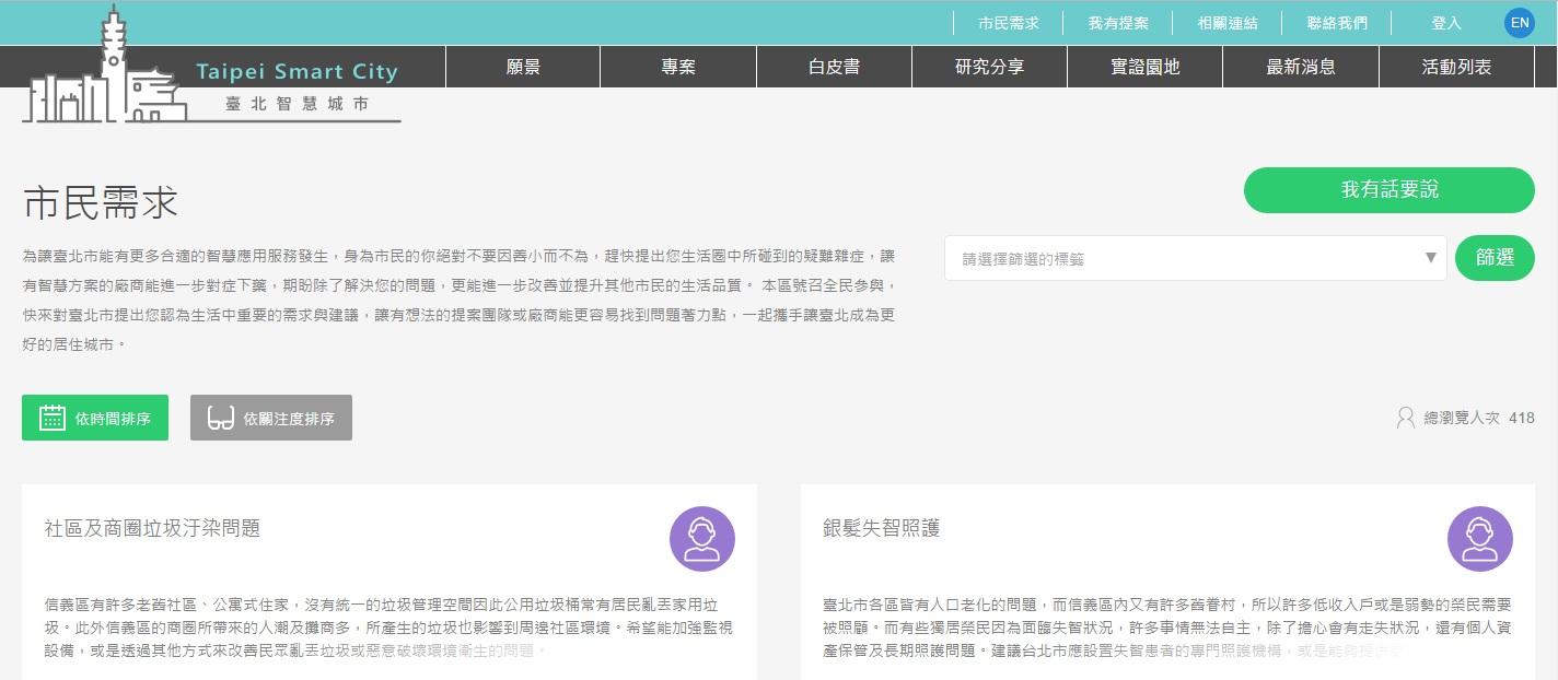 圖3:「市民需求」網頁示意
