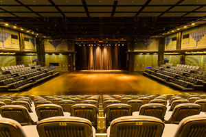 Photo shows Wellspring Theater features as its thrust stage.