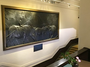 Huang Tu-shui's work Water Buffaloes at the Taipei Zhongshan Hall. (Photo courtesy of the Department of Cultural Affairs)
