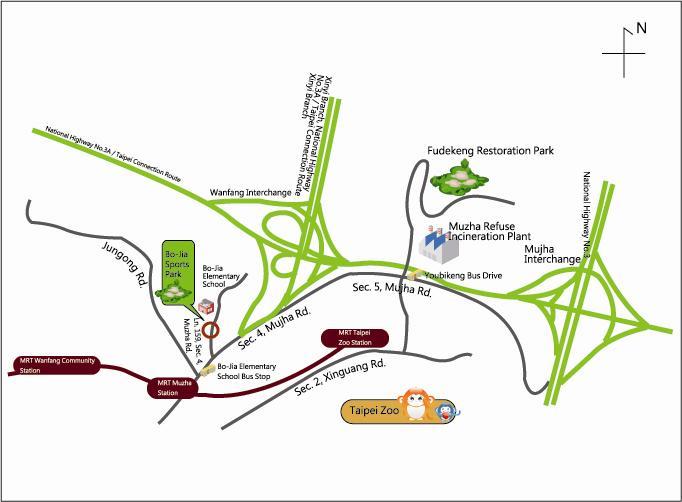 Map of Muzha Refuse Incineration plant