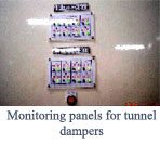 Monitoring panels for tunnel dampers'