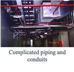 Complicated piping and conduits
