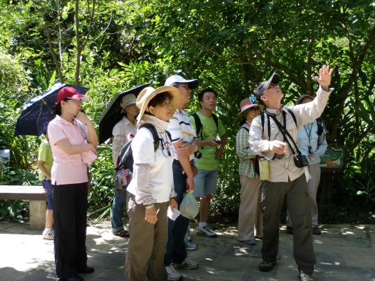 Volunteers paying full attention at Professor Liou even during hot summer days