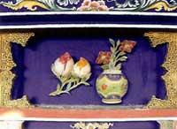 博古柱堵:花瓶、壽桃、桃子