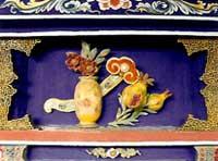 博古柱堵:花瓶、石榴、如意