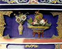 博古柱堵:花瓶、花盤、石榴