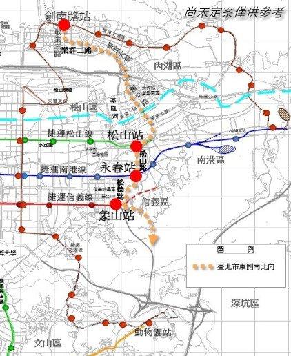 臺北市東側南北向軌道運輸系統路線圖