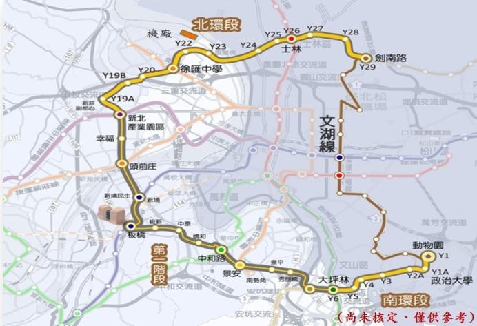 環狀線北環段及南環段路線示意圖