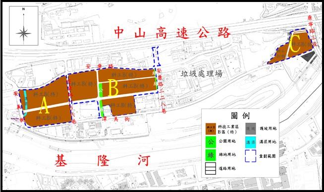 內湖區第九期擬辦市地重劃範圍及土地使用分區示意圖