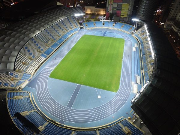 The panoramic photo of Taipei Stadium after its completion