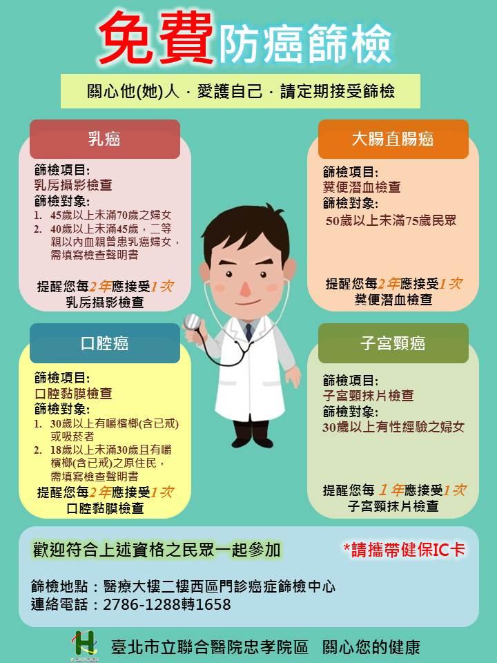免費防癌篩檢