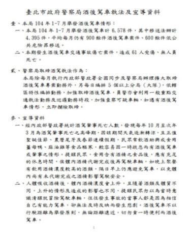 酒後駕車執法及宣導資料(2頁)