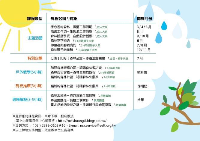內雙溪自然中心103年「森活學分班」課程表[開啟新連結]