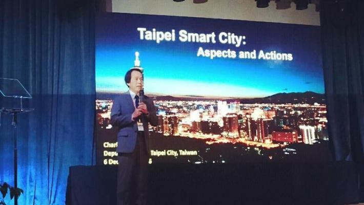 圖2:林副市長於馬來西亞雪州智慧城市國際論壇,分享臺北市智慧城市經驗。