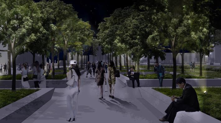 綠光森林區夜間模擬圖