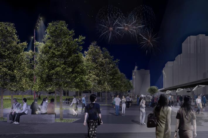 秋紅楓林區夜間模擬圖