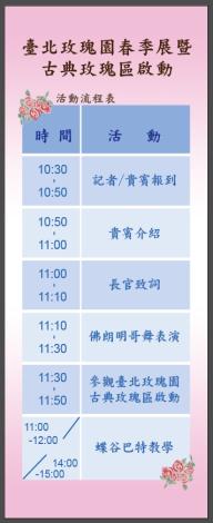 圖1、臺北玫瑰園春季展暨古典玫瑰區啟動活動流程表。[另開新視窗]