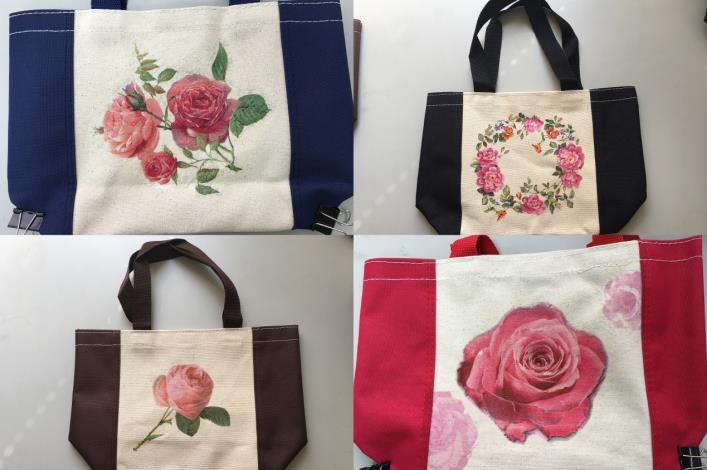 圖5、經由「蝶谷巴特」的手法,讓美麗的玫瑰花,留在生活中萬用的手提袋上。[開啟新連結]