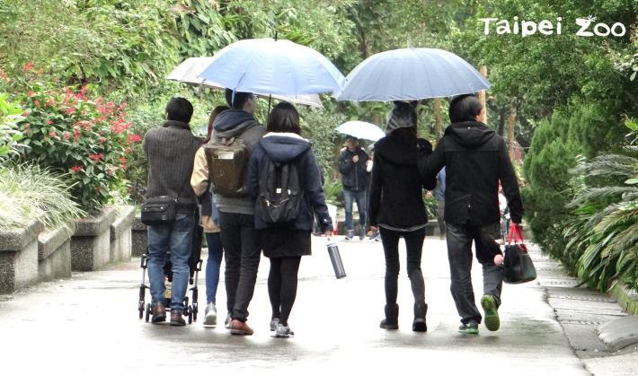 受到冷氣團影響,遊客也都穿上保暖的冬衣