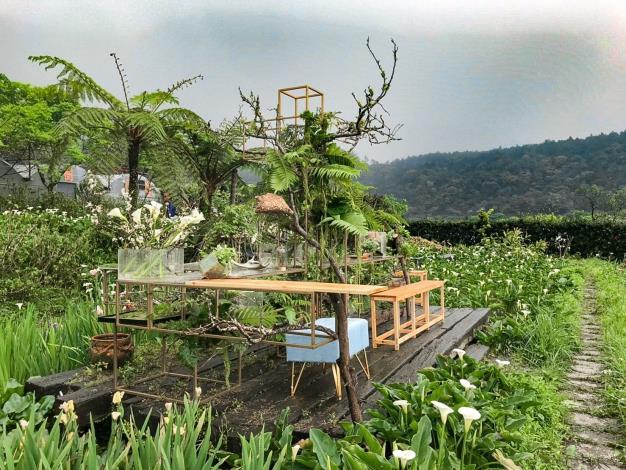 圖4.「花與樹園藝」花田餐桌佈置完成(2)。