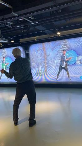 圖4、蘭德利體驗由digiBlock Taipei (臺北數位產業園區)C棟進駐廠商所開發的體感科技運動遊戲