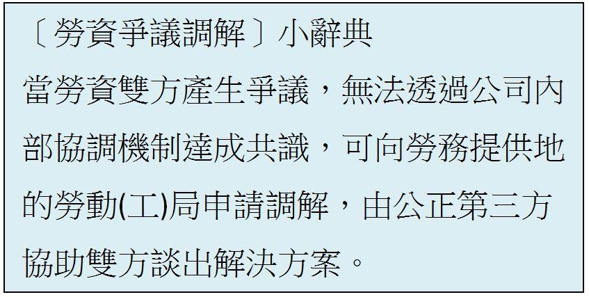 〔勞資爭議調解〕小辭典: 當勞資雙方產生爭議,無法透過公司內部協調機制達成共識,可向勞務提供地的勞動(工)局申請調解,由公正第三方協助雙方談出解決方案。