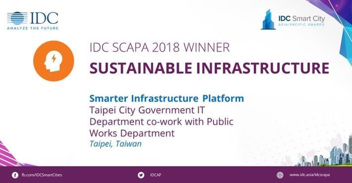 台北市以「智慧基礎建設平台(Smarter Infrastructure platform)」獲得Sustainable Infrastructure獎項[開啟新連結]