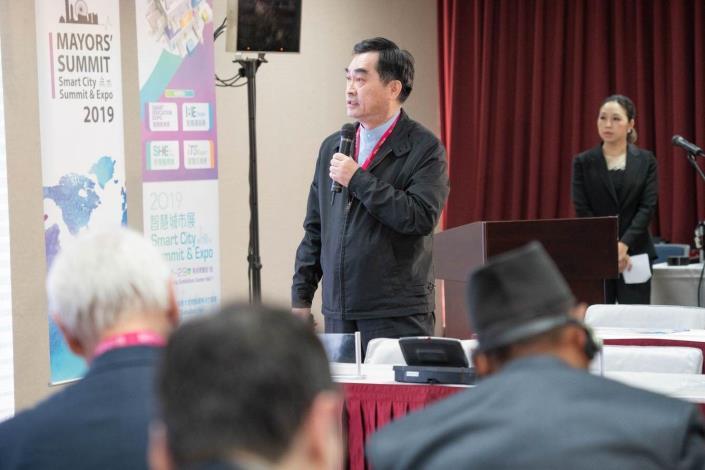 台北市鄧家基副市長於首長高峰會中進行「台北市智慧城市願景」專題演講[開啟新連結]