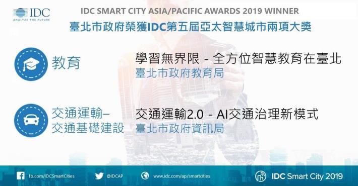 臺北市政府以「交通」、「教育」再榮獲第五屆亞太區智慧城市大獎(SCAPA)。