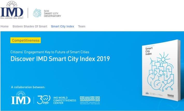 「2019 IMD全球智慧城市指數」網站示意