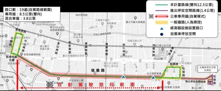 圖1:臺北市信義路公車專用道自駕巴士創新實驗計畫夜間測試路線