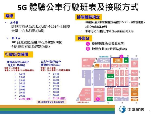 圖1:中華電信5G智慧公車班表及接駁方式