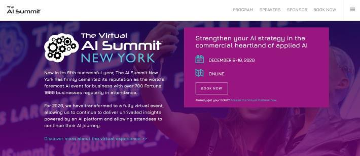 圖1:「The Virtual AI Summit New York」線上官網