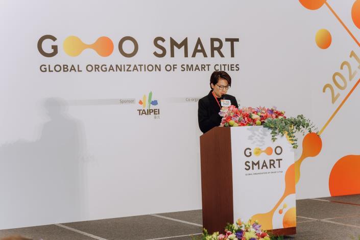 圖1:臺北市副市長黃珊珊於GO SMART大會致詞