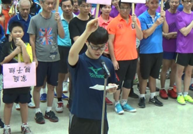 家庭親子雙打組吳昀臻代表運動員宣誓