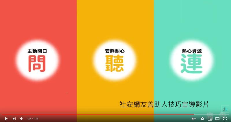 社會安全網「友善助人技巧」宣導影片(另開新視窗)
