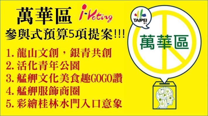 萬華區- i-voting 投票5項提案[開啟新連結]
