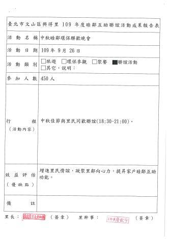 109年睦鄰互助活聯誼動成果報告表