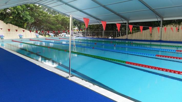 2017年臺北世大運游泳競賽活動式游泳池組裝完成