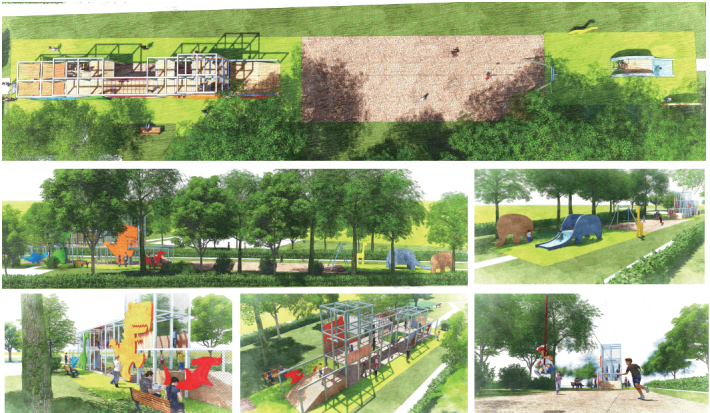 圖1.工作坊前三民公園願景圖-「狹長地形的利用」[開啟新連結]