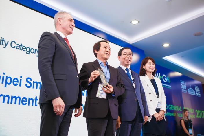 圖2:林副市長於俄羅斯Ulyanovsk市接受WeGO全球最佳「合作城市金質獎」殊榮