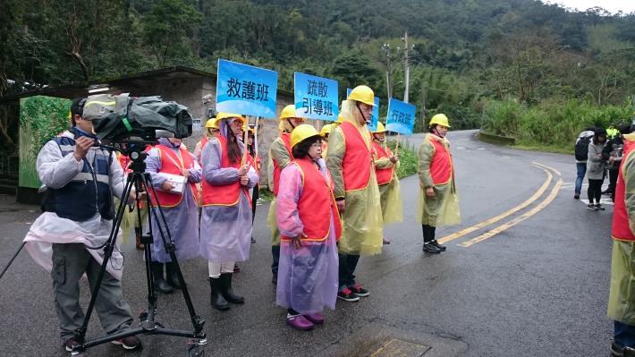 臺北市士林區土石流防災疏散演練情形。