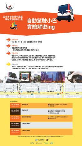 圖1:「台北市自動駕駛小巴實驗解密ing」測試說明