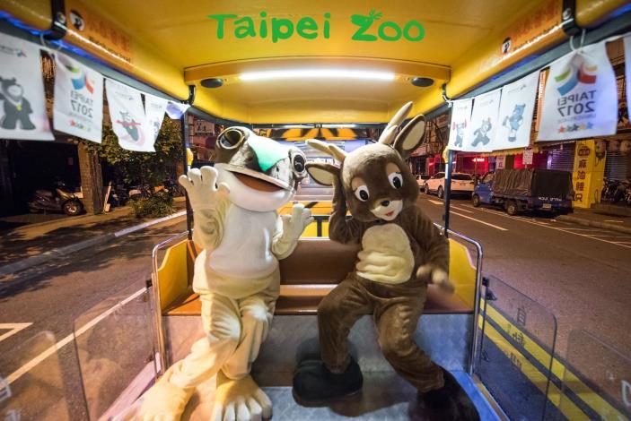 列車趁著夜色,出發前往集合,臺北赤蛙及梅花鹿搶先體驗