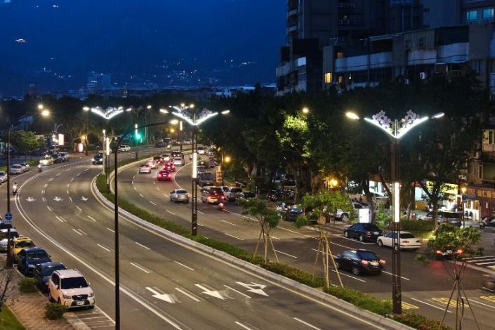 相片4-大業路櫻花路燈夜景