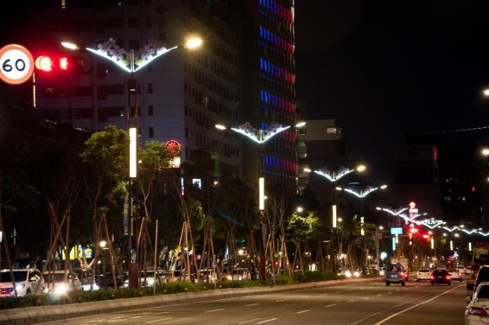 相片7-大業路櫻花路燈夜景[開啟新連結]